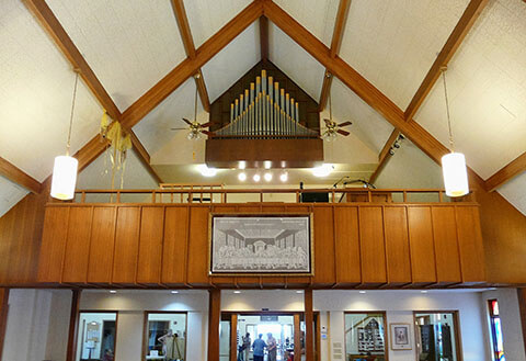 Zion Lutheran Church's balcony with pipe organ