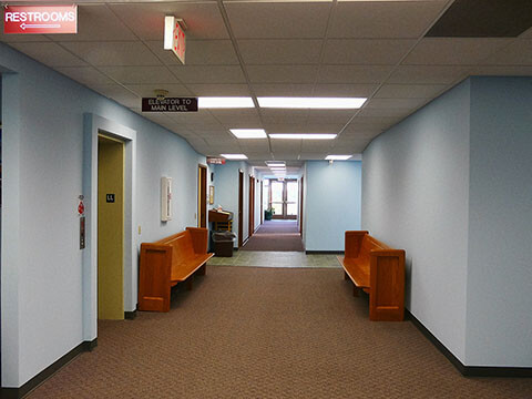 View of hallway with more classrooms